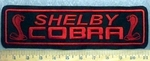 1281 L - Shelby Cobra - Straight Rocker - Red - 2 Cobra Snakes  - Embroidery Patch