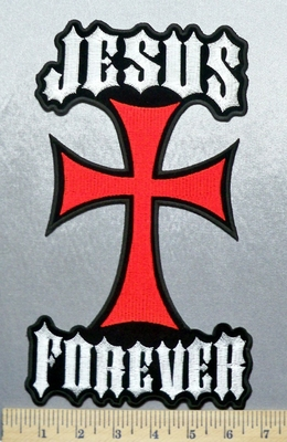 2179 G - Jesus Forever With Chopper Like Cross - Back Patch - Embroidery Patch