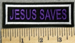 2904 L - Jesus Saves - Purple Lettering - Embroidery Patch