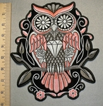 2452 G -Jeweled Peach Colored Owl With Roses And Diamond - Back Patch - Embroidery Patch