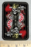 2959 G - King Of Hearts Playing Card With King Skullman And Sword - 3.5 Inch - Embroidery Patch