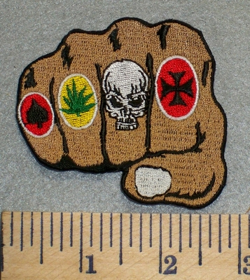 2456 N - Knuckled Fist With Skull,Chopper, Pot Leaf And Spade Design - Embroidery Patch