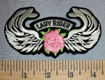 2366 S - Lady Rider With Pink Rose And Angel Wings  - Embroidery Patch