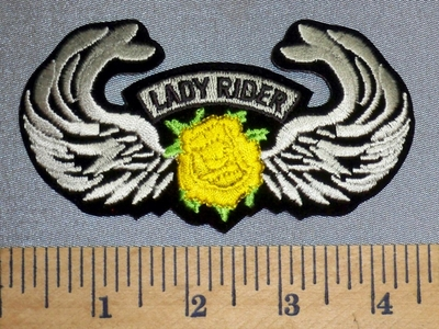 2347 S - Lady Rider With Yellow Rose And Angel Wings - Embroidery Patch