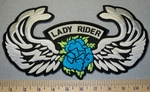 2346 W - Lady Rider With Turquoise Rose And Wings - Back Patch - Embroidery Patch