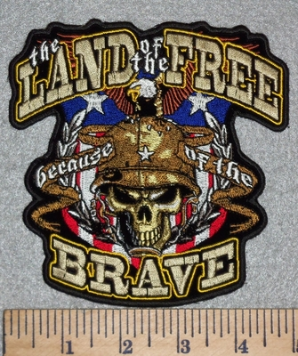 3143 G - Land Of The Free- Because Of The Brave - American Shield With Military Skull Face - Embroidery Patch