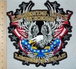 3094 G - Legends Live Where Legends Soar - Eagle In Fight With American Flag - Back Patch - Embroidery Patch