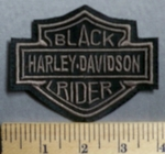 747 L  - Harley Davidson Logo - Black Rider - Brown - Embroidery Patch