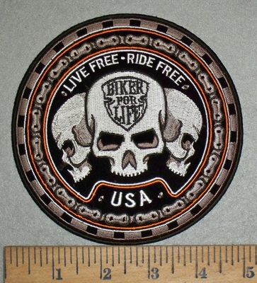 4744 N - Live Free - Ride Free - Biker For Life - Triple Skull With Bike Chain - Round - Embroidery Patch