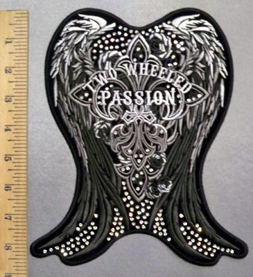 1801 G - Rhinestone - Two Wheeled Passion -Angel Wings - Back Patch - Embroidery Patch