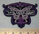 2321 G - Live - Love - Ride With Motorcycle Butterfly - Embroidery Patch