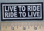 3238 L - Live To Ride - Ride To Live - Embroidery Patch