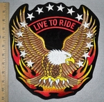 3323 R - Live To Ride - Stars And Flames- With Eagle - Back Patch  - Embroidery Patch