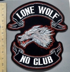 1729 G - Lone Wolf No Club - Back Patch - Embroidery Patch