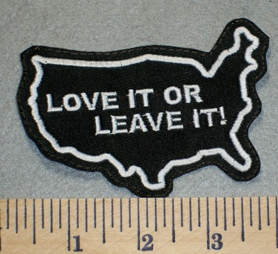 2439 L - Love It Or Leave It - Outline Of USA - Embroidery Patch