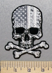 1989 G - Subdued Anerican Flag Skull With Crossbones - Embroidery Patch