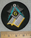 3185 W - Masonic Square And Compass With Bible - Round - Embroidery Patch
