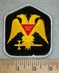 3169 W - Masonic Free Mason 32nd Degree - Gold - Embroidery Patch
