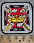 3166 W - Masonic In HOC Sicno Vinces - Crown And Cross - Embroidery Patch