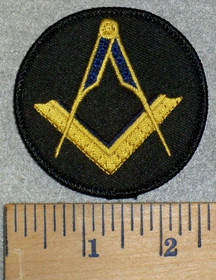 3176 W - Masonic Square And Compass - Round - Embroidery Patch