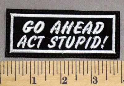 2845 L - Go Ahead Act Stupid! - Embroidery Patch