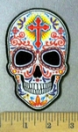 3280 CP -Sugar Skull With Celtic Cross On Forehead - Embroidery Patch