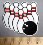 1972 C - Bowling Pin And Bowling Ball - Embroidery Patch