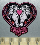 1995 CP - Heart With Two Horse And Pink Roses - Embroidery Patch