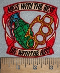3503 N - Mess With The Best - Die With The Rest - Granade And Brass Knuckles - Embroidery Patch