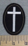 2582 L - Mini Oval White Cross Patch - Brown Border - Embroidery Patch