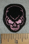 2766 L - Mini Skull Face - Pink - Embroidery Patch