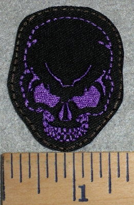 2770 L - Mini Skull Face - Purple - Embroidery Patch