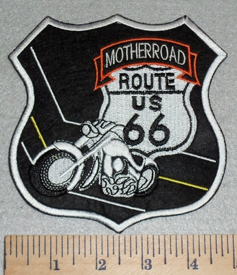 3050 G - DISCONTINUED Motherroad - Route  US 66 With Motorcycle - Embroidery Patch