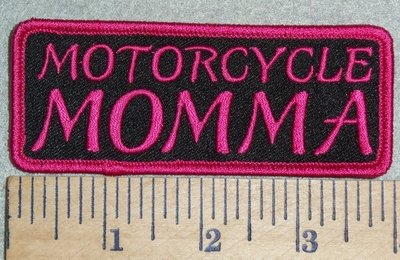 2995 G - Motorcycle MOMMA - Pink - Embroidery Patch