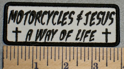 2469 G- Motorcycles & Jesus A Way Of life - White background - Embroidery Patch
