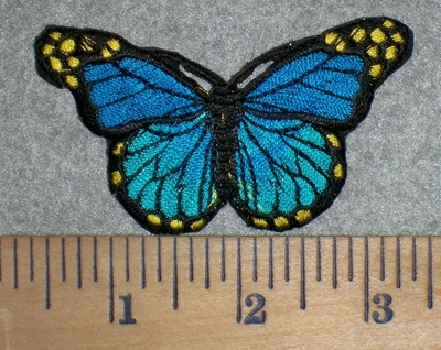 3209 C - out of stock  Multi Blue Colored Butterfly - Embroidery Patch