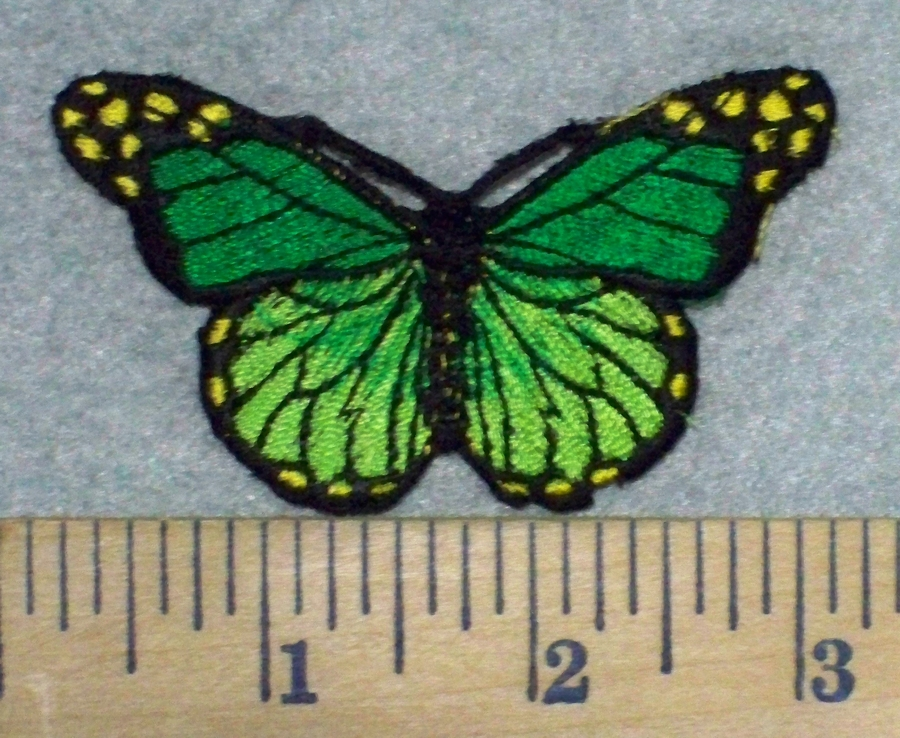 C multi green colored butterfly embroidery patch