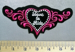 22 S - Love To Ride - Silver Studded Heart - Embroidery Patch