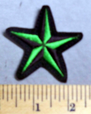 2537 L - Nautical Star - Green -  Embroidery Patch