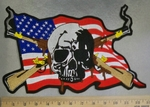 2924 C American Flag With Skull And Two Smoking Rifles -  - Back Patch - Embroidery Patch