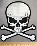 2923 G - REFLECTIVE - Skullface With Crossbones - Gray - Back Patch - Embroidery Patch