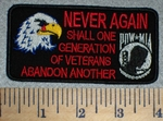 2620 W - Never Again Shall One Generation Of Veterans Abandon Another - Embroidery Patch
