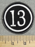 2943 L - Number 13  - 2.5 Inch - Embroidery Patch