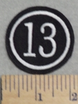 3011 L - Number 13 - 2 Inch - Embroidery Patch