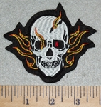 3009 B - One Red Eyed Skull Face With Flames - 3 Inch - Embroidery Patch