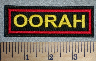 2685 L - OORAH - Marine War Battle Cry -  Yellow Lettering - Embroidery Patch