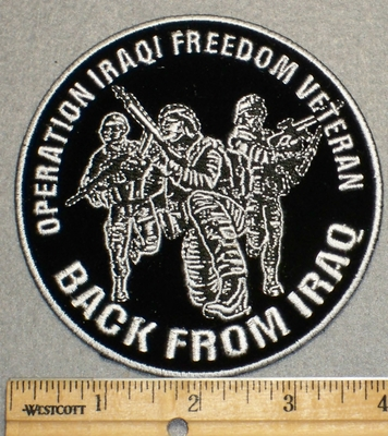 2250 W - Operation Iraqi Freedom Veteran - Back From Iraq - Round - Embroidery Patch