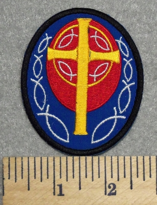 2896 L - Oval Patch With Cross - Embroidery Patch