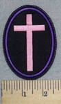 2585 L - Oval Pink Cross - Purple Border - Embroidery Patch