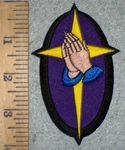 3370 W - Oval Praying Hands With Corss - Purple - Embroidery Patch